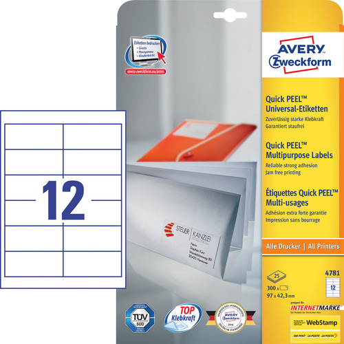 300 Universal-Etiketten, weiss, 97x42.3 mm, permanent