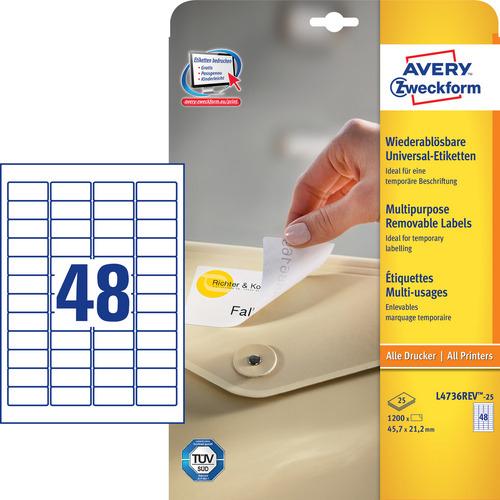 1200 Universal-Etiketten, weiss, 45.7x21.2 mm, wiederablösbar