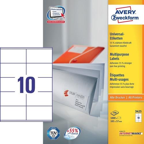 1000 Etiketten 104x57 mm, 100 Blatt à 10 Etiketten