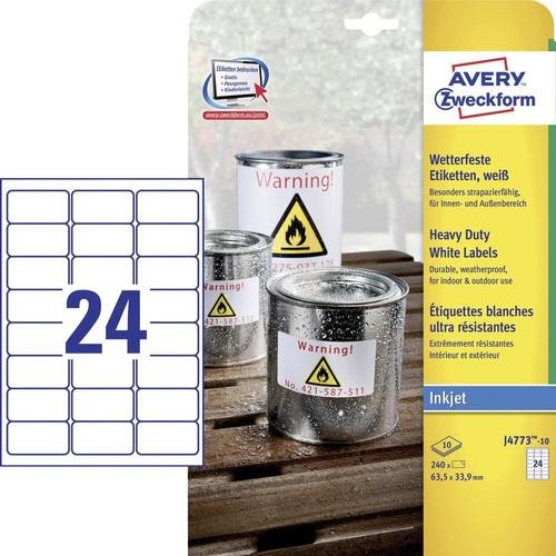 240 Folien-Etiketten 63,5x33,9 mm, 10 Blatt à 24 Etiketten