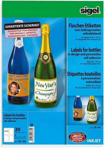 20 Étiquettes bouteilles 80x120mm, 5 Feuilles à 4 étiquettes