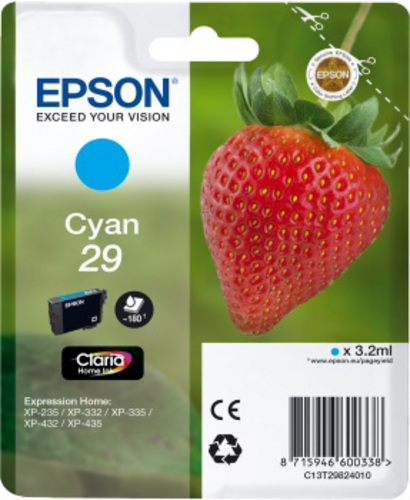 Epson 29, Cartouche d'encre cyan, 180 pages, 3.2ml