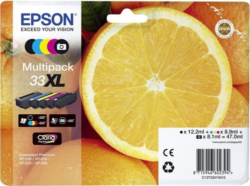 Epson 33XL Multipack, TPA schwarz, photo schwarz, cyan, magenta & yellow
