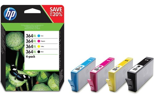 HP Nr. 364XL Combo Pack, schwarz, cyan, magenta & yellow