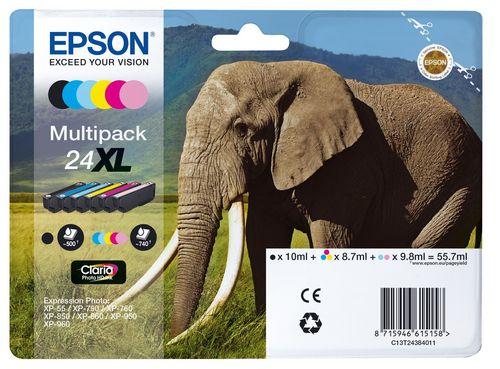 Epson 24XL Multipack, TPA schwarz, cyan, magenta, yellow, l-cyan & l-magenta