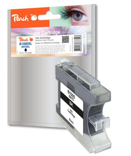 Peach XL-Cartouche d'encre noire, compatible avec Brother LC-1000bk, LC-970bk