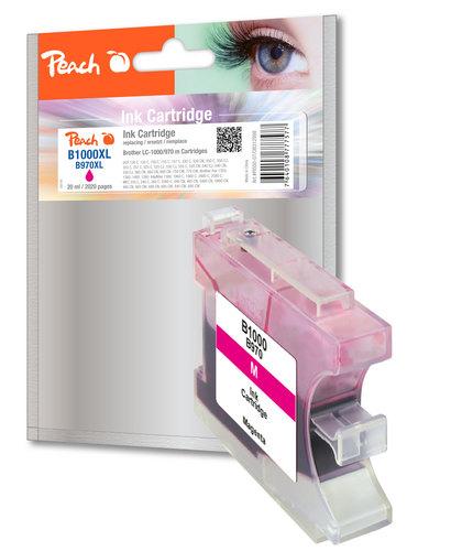 Peach XL-Cartouche d'encre magenta, compatible avec Brother LC-1000m, LC-970m
