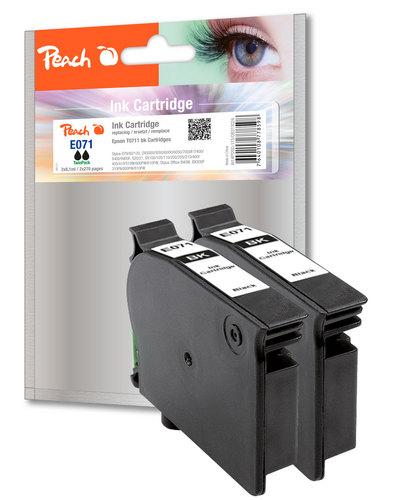 Peach Twin Pack Cartouche d'encres noire, compatible avec Epson T0711