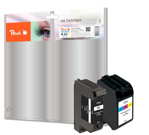 Peach Spar Pack Druckköpfe kompatibel zu HP No. 15, C6615D, No. 78, C6578D