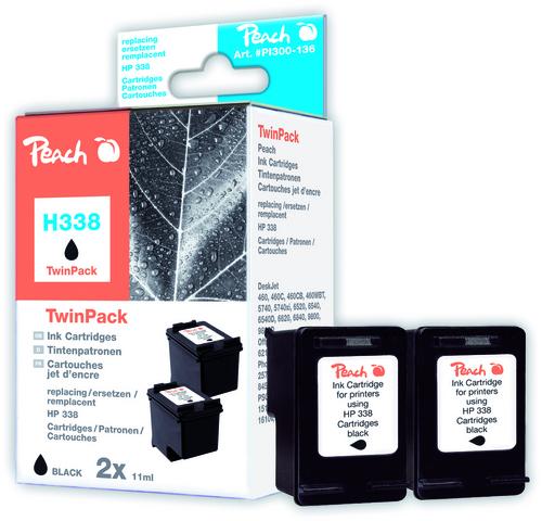 Peach Doppelpack Druckköpfe schwarz kompatibel zu HP No. 338, C8765E