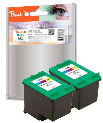 Peach Twin Pack Cartouche d'encres couleur, compatible avec HP No. 344, C9363E