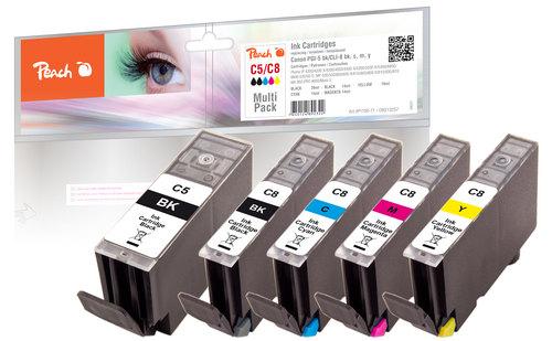 Peach Spar Pack Tintenpatronen kompatibel zu Canon CLI-8, PGI-5