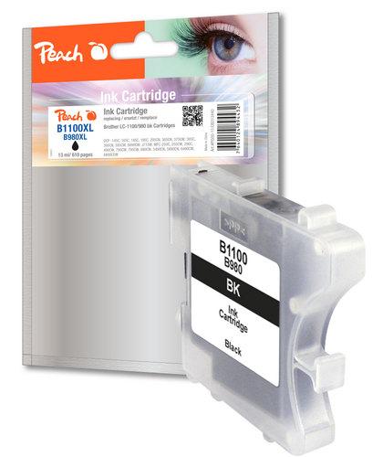 Peach Tintenpatrone schwarz kompatibel zu Brother LC-1100bk/LC-980bk