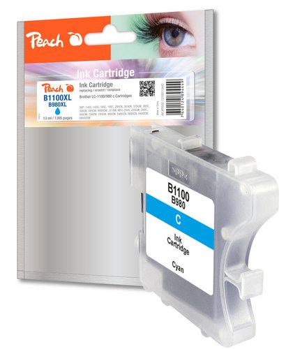 Peach Cartouche d'encre cyan, compatible avec Brother LC-1100c/LC-980c