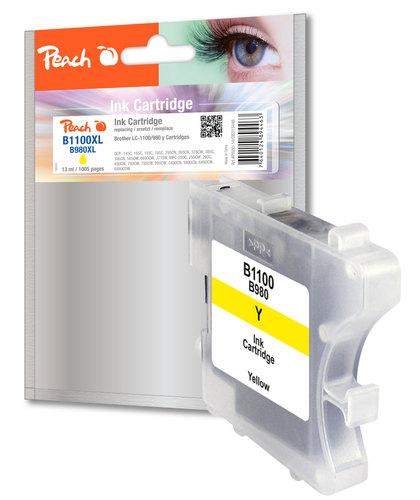 Peach Cartouche d'encre jaune, compatible avec Brother LC-1100y/LC-980y