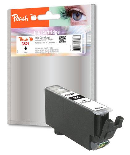 Peach Cartouche d'encre noir photo, compatible avec Canon CLI-521bk, 2933B001