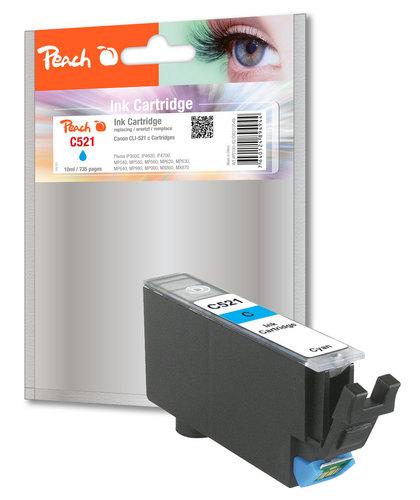 Peach Cartouche d'encre cyan, compatible avec Canon CLI-521c, 2934B001