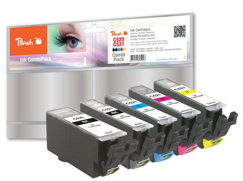 Peach Multipack avec chip, XL-Yield, compatible avec Canon CLI-521, PGI-520