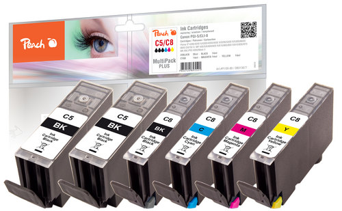 Peach Spar Pack Plus Tintenpatronen kompatibel zu Canon PGI-5 / CLI-8