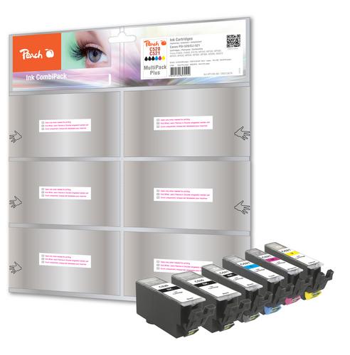 Peach Spar Pack Plus Tintenpatronen, XL-Ergiebigkeit, komp. zu Canon CLI-521