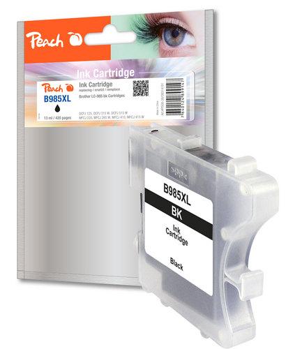 Peach Tintenpatrone schwarz, XL-Ergiebigkeit, kompatibel zu Brother LC-985bk