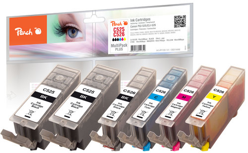 Peach Spar Pack Plus Tintenpatronen, XL-Ergiebigkeit, komp. zu Canon CLI-526