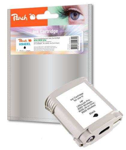 Peach Cartouche d'encre noire avec chip compatible avec HP No. 940XL, C4906AE