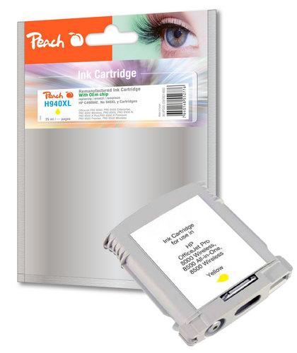 Peach Cartouche d'encre jaune compatible avec HP No. 940XL, C4909AE