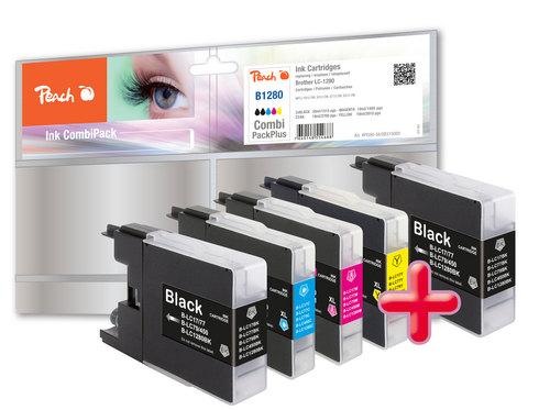 Peach Spar Pack Plus Tintenpatronen, XL-Füllung, kompatibel zu Brother LC-1280