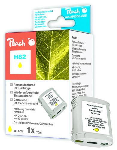 Peach Cartouche d'encre jaune, compatible avec HP No. 82, C4913A