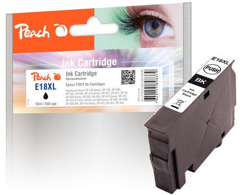 Peach Tintenpatrone schwarz kompatibel zu Epson T1811, No. 18XL bk