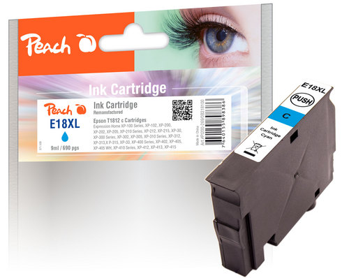 Peach Tintenpatrone cyan kompatibel zu Epson T1812, No. 18XL c