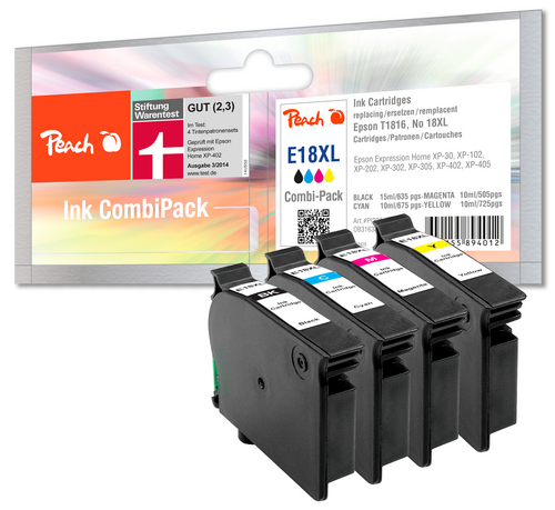 Peach Multipack, compatible avec Epson T1816, No. 18XL