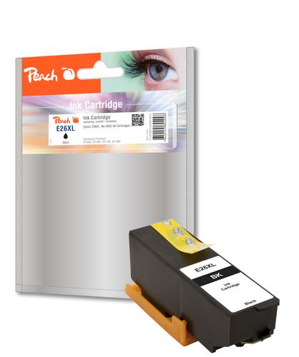 Peach Tintenpatrone HY schwarz kompatibel zu Epson No. 26XL bk, T262140