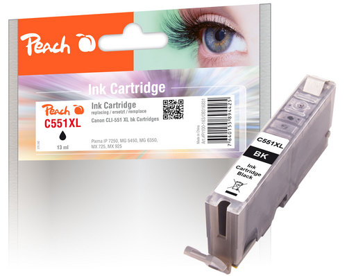 Peach XL-Tintenpatrone foto schwarz kompatibel zu Canon CLI-551, CLI-551BK XL