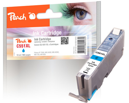 Peach XL-Tintenpatrone cyan kompatibel zu Canon CLI-551, CLI-551C XL