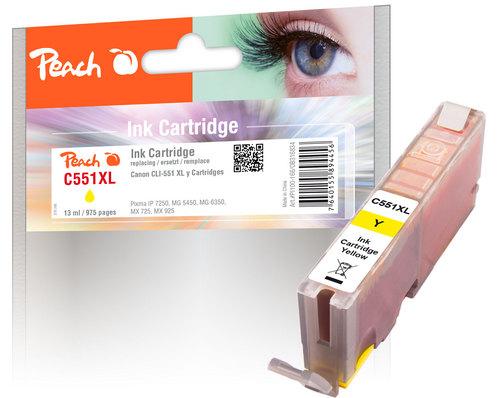 Peach Cartouche d'encre jaune avec chip compatible avec Canon CLI-551Y XL