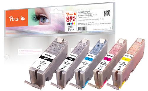 Peach Combi Pack avec chip, XL-Yield compatible avec Canon PGI-550XL, CLI-551XL