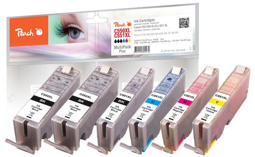 Peach Combi Pack Plus avec chip, XL-Yield comp. Avec Canon PGI-550XL, CLI-551XL