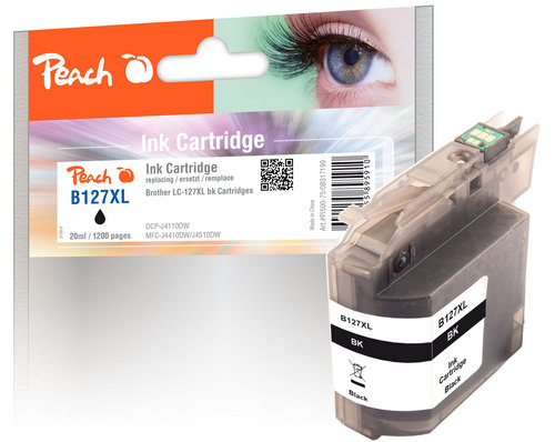 Peach Tintenpatrone schwarz XL, kompatibel zu Brother LC-127XL