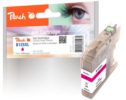 Peach Cartouche d'encre magenta XL, compatible avec Brother LC-125XL