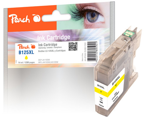 Peach Tintenpatrone gelb XL, kompatibel zu Brother LC-125XL