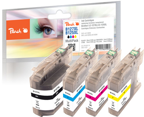 Peach Spar Pack Tintenpatronen kompatibel zu Brother LC-125XL, LC-127XL