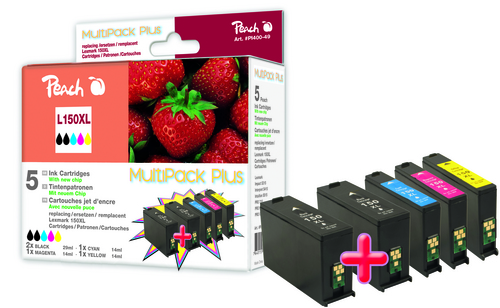 Peach Multipack Plus avec chip, XL-Yield, compatible avec Lexmark No. 150XL