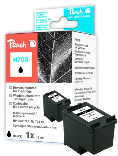 Peach Tête d'impression noire, compatible avec HP No. 703, CD887AE