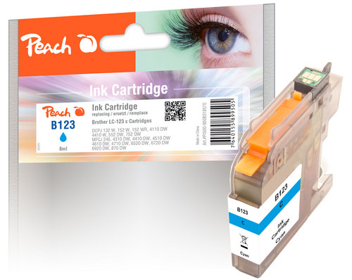 Peach Tintenpatrone cyan kompatibel zu Brother LC-123