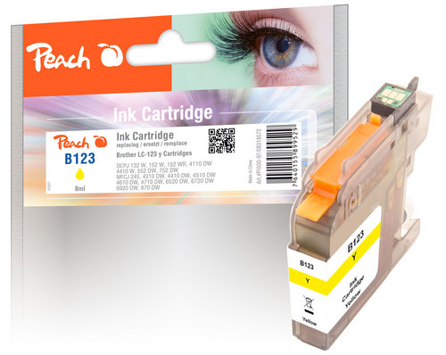 Peach Tintenpatrone gelb kompatibel zu Brother LC-123
