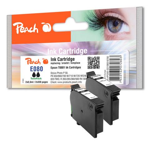 Peach Doppelpack Tintenpatronen schwarz kompatibel zu Epson T0801