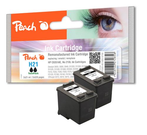 Peach Doppelpack Druckköpfe schwarz kompatibel zu HP No. 21XL, C9351AE