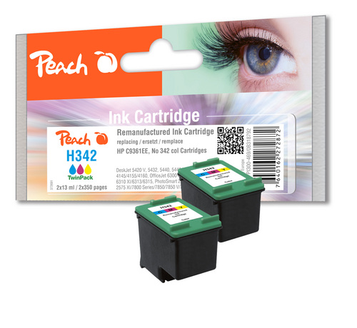 Peach Twin Pack Tête d'impression couleur, compatible avec HP No. 342, C9361E